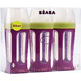 Набор из 3х бутылочек Biboz 210мл, Beaba, сиреневый