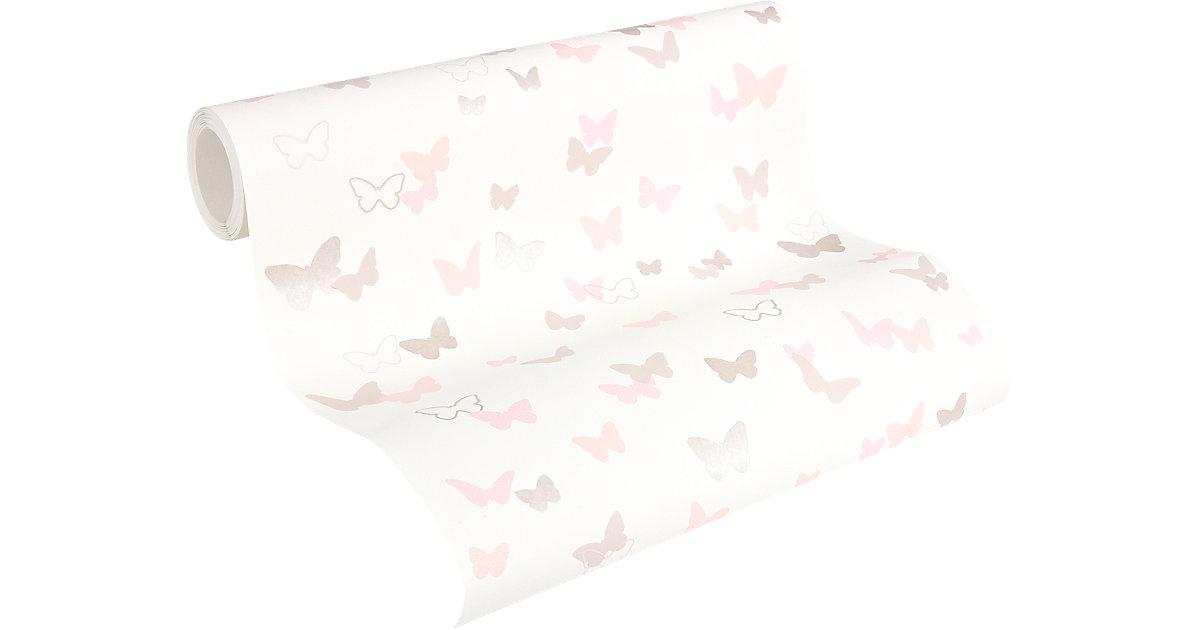Tapete Schmetterlinge grau/rosa