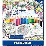 """Карандаши цветные Ergosoft, 24 цвета, """"Johanna Basford"""", Staedtler"""