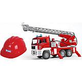 Пожарная машина MAN + Каска красная, Bruder