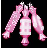 """ёл. укр. набор конфет 3шт.""""PINK DREAMS"""" 12см, розов."""