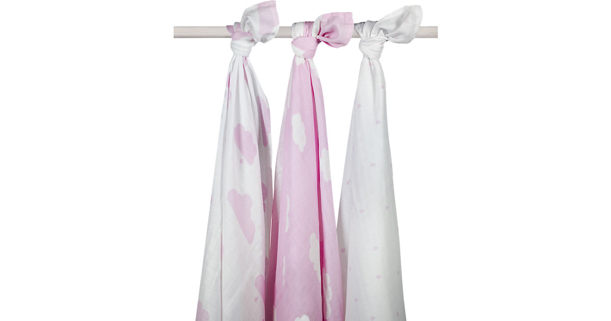 Mullwindel XL, Wolke, rosa, 115 x 115 cm, 3er-Pack