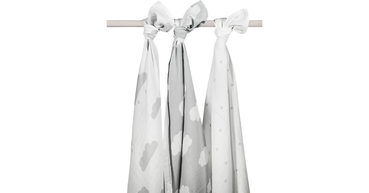 Mullwindel XL, Wolke, grau, 115 x 115 cm, 3er-Pack