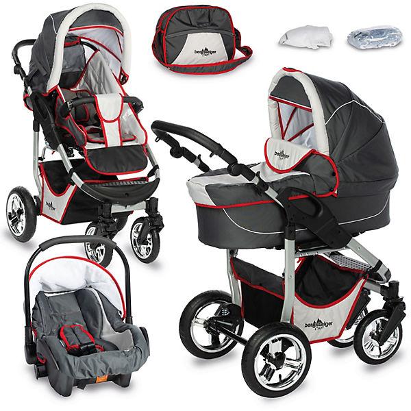 kombi kinderwagen capri 10 tlg grey red stripes bergsteiger mytoys. Black Bedroom Furniture Sets. Home Design Ideas