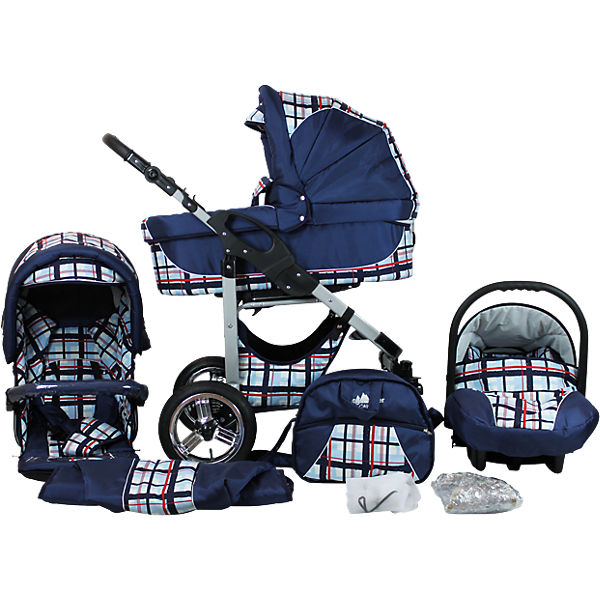 Kombi Kinderwagen Capri, 10 tlg., blue stripes