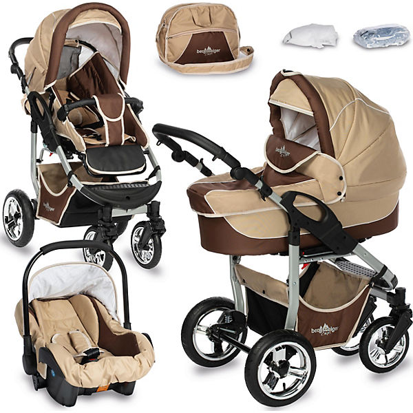 kombi kinderwagen capri 10 tlg coffee brown bergsteiger mytoys. Black Bedroom Furniture Sets. Home Design Ideas