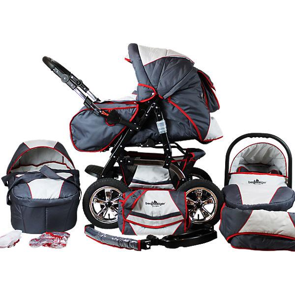 kombi kinderwagen milano 10 tlg grey red stripes bergsteiger mytoys. Black Bedroom Furniture Sets. Home Design Ideas