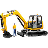 BRUDER 2466 Cat Minibagger mit  Bauarbeiter 1:16
