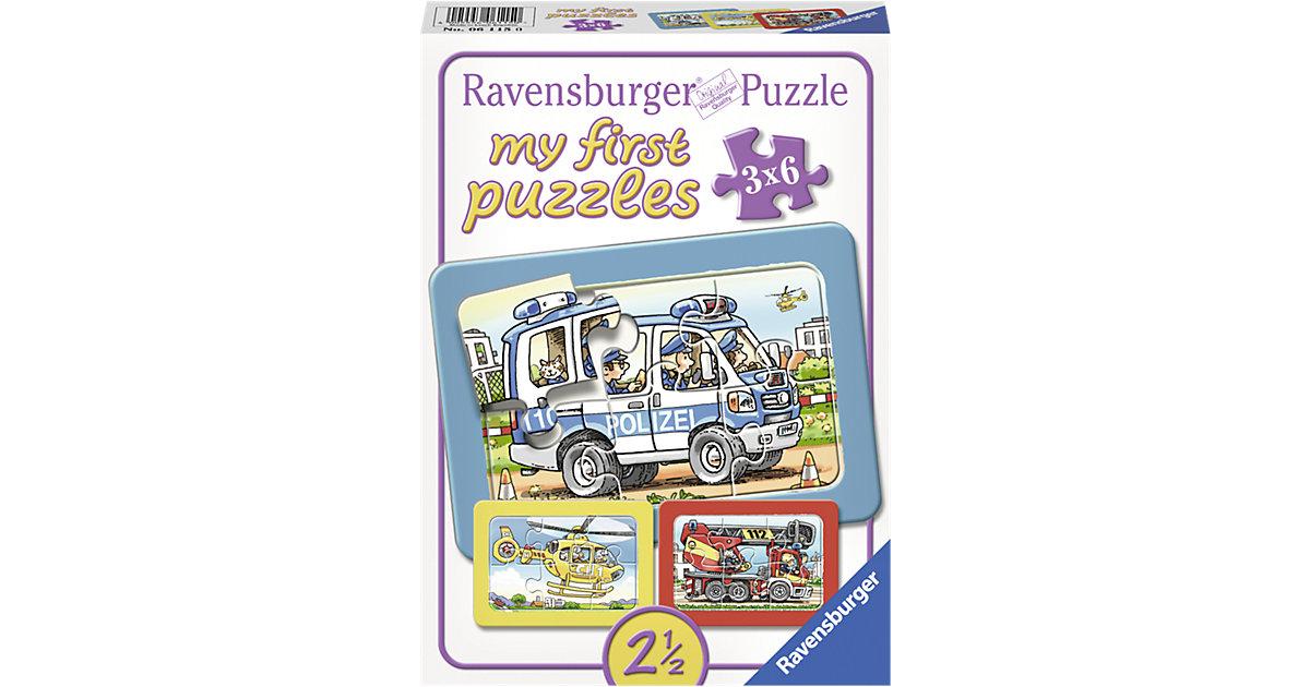 my first Puzzle Feuerwehr, Polizei, Krankenwagen 3 x 6 Teile