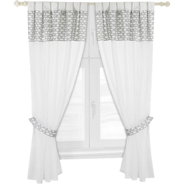 gardinen set wolke voile grau je 130 x 150 cm 2 schals alvi mytoys. Black Bedroom Furniture Sets. Home Design Ideas