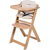 Treppenhochstuhl Timba mit Sitzkissen, Red Dot/ Natural Wood