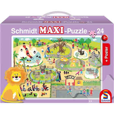 Bodenpuzzle, Im Zoo (inkl. Poster), 24 Teile