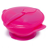 Тарелочка на присоске с ложкой в комплекте, Nuby, розовый