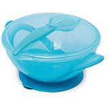 Тарелочка на присоске с ложкой в комплекте, Nuby, голубой