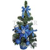 Елка декоративная с синими украшениями, 50 см