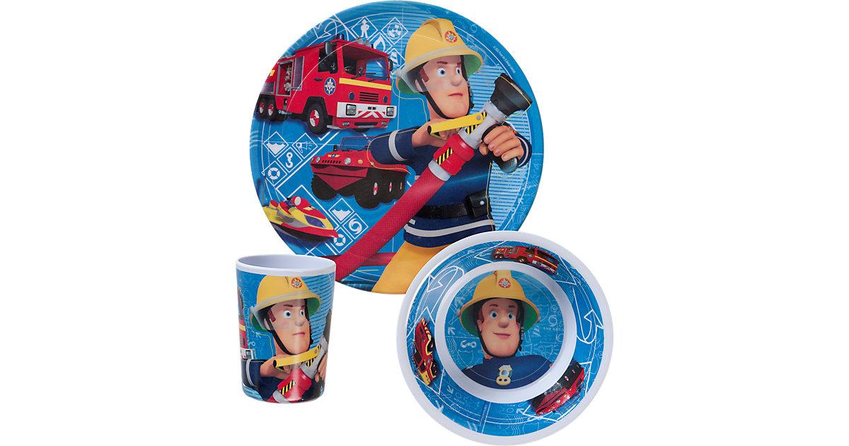 Kindergeschirr Melamin Feuerwehrmann Sam, 3-tlg.