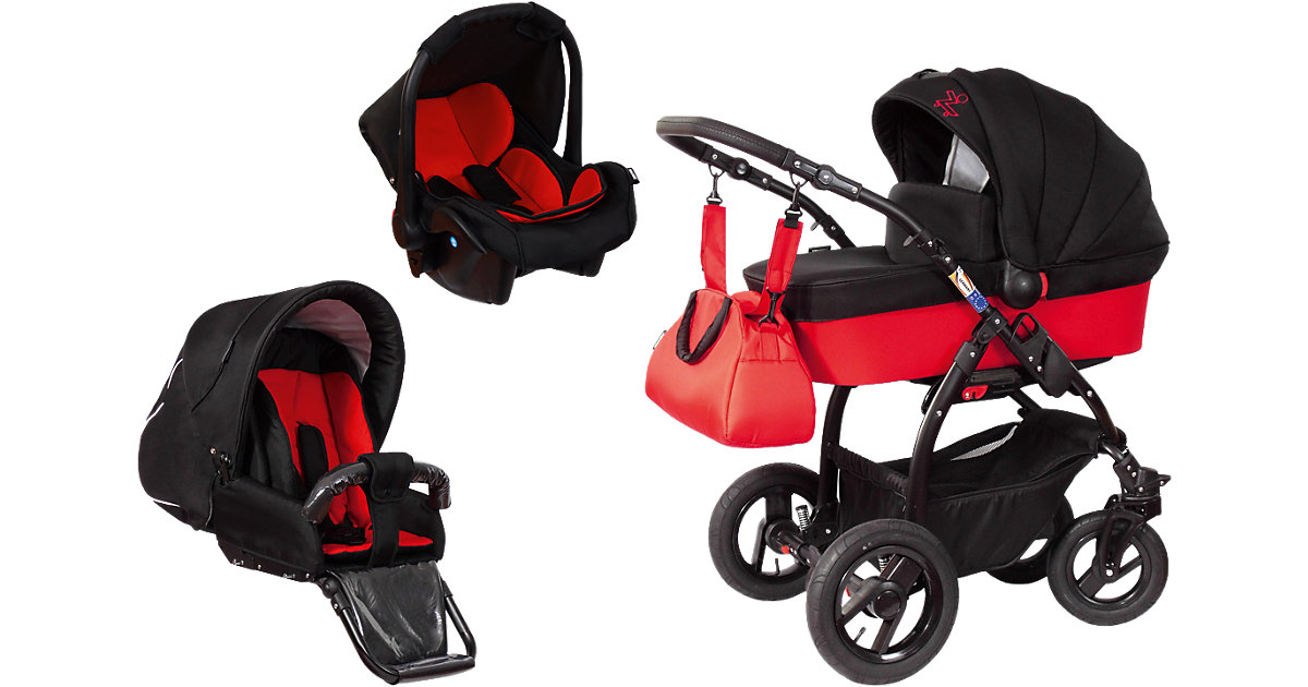 Kombi Kinderwagen TRIset inkl. Wanne, Sportwagenaufsatz und Babyschale, schwarz/rot, 2016