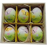 """Декоративный набор пасхальных яиц """"Бабочки"""" 6 шт"""