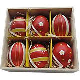 """Декоративный набор пасхальных яиц """"Ромашки и полоски"""" 6 шт"""