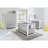Komplett Kinderzimmer CURVE, (Kinderbett, Wickelkommode und Kleiderschrank 2-trg.), Esche grau