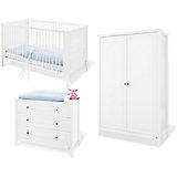 Komplett Kinderzimmer SMILLA, (Kinderbett, Wickelkommode und Kleiderschrank 2-trg.), Kiefer weiß lasiert