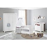 Komplett Kinderzimmer NINA groß, (Kinderbett, Wickelkommode 2-trg. und Kleiderschrank 3-trg.), Fichte weiß lasiert