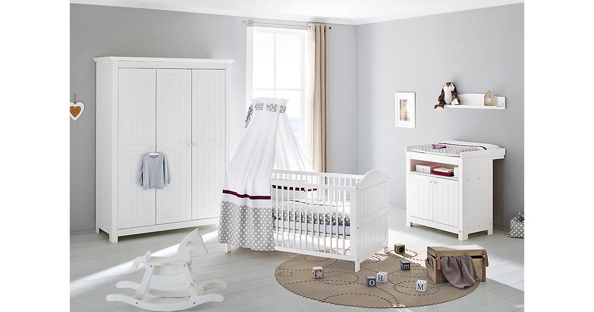 Komplett Kinderzimmer NINA groß, (Kinderbett, Wickelkommode 2-trg. und Kleiderschrank 3-trg.), Fichte weiß lasiert Gr. 70 x 140