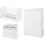 Komplett Kinderzimmer NINA breit, (Kinderbett, Wickelkommode breit und Kleiderschrank 3-trg.), Fichte weiß lasiert
