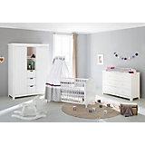 Komplett Kinderzimmer NINA extrabreit/groß, (Kinderbett, Wickelkommode extrabreit und großem Kleiderschrank), Fichte weiß lasiert