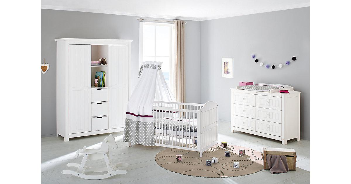 Komplett Kinderzimmer NINA extrabreit/groß, (Kinderbett, Wickelkommode extrabreit und großem Kleiderschrank), Fichte weiß lasiert Gr. 70 x 140
