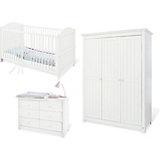 Komplett Kinderzimmer NINA extrabreit/groß, (Kinderbett, Wickelkommode extrabreit und Kleiderschrank 3-trg.), Fichte weiß lasiert