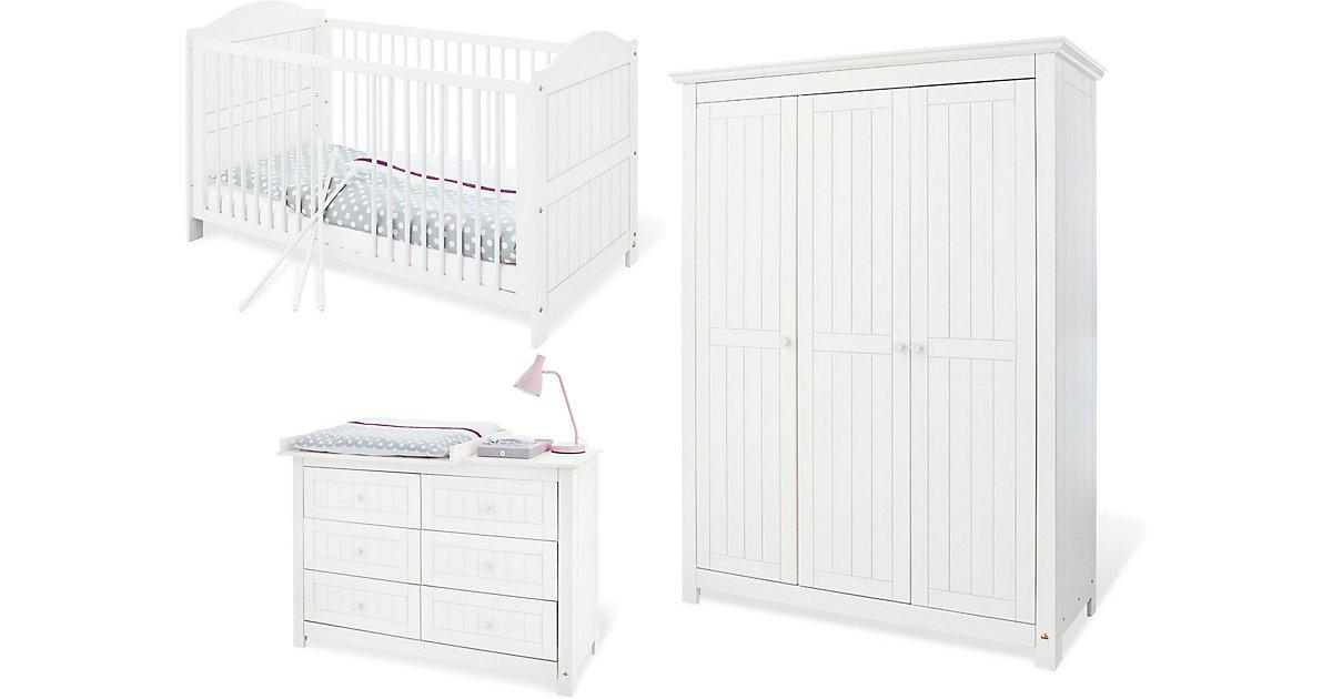 Komplett Kinderzimmer NINA extrabreit/groß, (Kinderbett, Wickelkommode extrabreit und Kleiderschrank 3-trg.), Fichte weiß lasiert Gr. 70 x 140