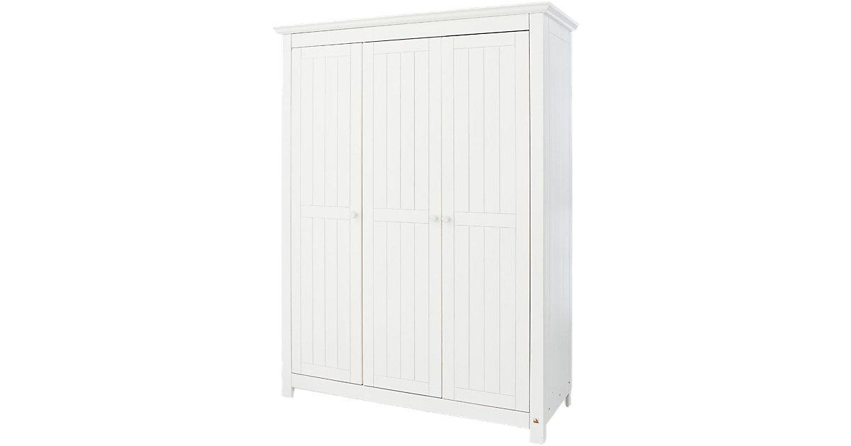 Kleiderschrank NINA 3-trg., Fichte weiß lasiert, 142 x 189 cm