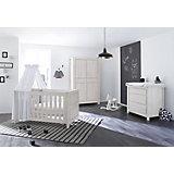 Komplett Kinderzimmer LINE breit, (Kinderbett, Wickelkommode 104 cm und Kleiderschrank 4-trg.), MDF Eiche grau