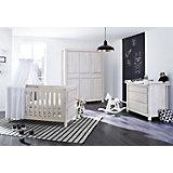 Komplett Kinderzimmer LINE breit, (Kinderbett, Wickelkommode 104 cm und Kleiderschrank 6-trg.), MDF Eiche grau