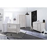 Komplett Kinderzimmer LINE breit, (Kinderbett, Wickelkommode 146 cm und Kleiderschrank 4-trg.), MDF Eiche grau