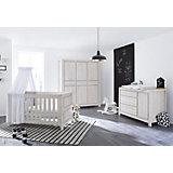 Komplett Kinderzimmer LINE breit, (Kinderbett, Wickelkommode 146 cm und Kleiderschrank 6-trg.), MDF Eiche grau