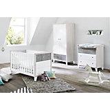 Komplett Kinderzimmer HARPER, (Kinderbett, Wickelkommode und Kleiderschrank 2-trg.), MDF weiß/Eiche grau/Esche grau