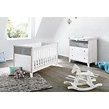 Sparset HARPER, (Kinderbett und Wickelkommode), MDF weiß/Eiche grau/Esche grau