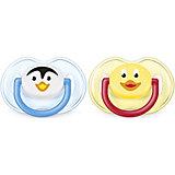 Силиконовая пустышка Домашние животные, 0-6 мес., 2 шт., AVENT, голубой/желтый