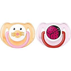 Силиконовая пустышка Домашние животные, 6-18 мес., 2 шт., AVENT, оранжевый/розовый