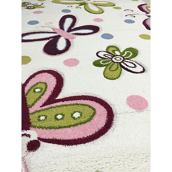 Teppich, SCHMETTERLING beige pastell, 120 x 180 cm, Happy