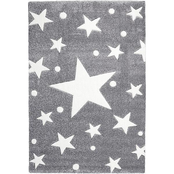 Teppich, STARS silbergrauweiß, 160 x 230 cm, Happy Rugs
