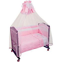 """Борт в кроватку """"Пушистик"""", Сонный гномик, розовый"""