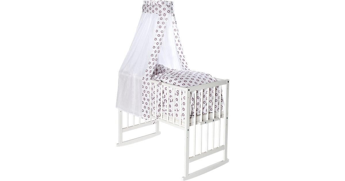 Wiege VARIO weiß, mit textiler Ausstattung Circle Star lila