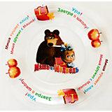 """Тарелка """"Школьная"""" (стекло, диаметр 20 см), Маша и Медведь"""