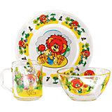 """Набор посуды """"Львенок"""" (стекло, 3 предмета)"""