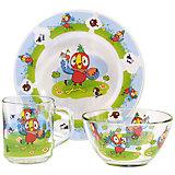 """Набор посуды """"Попугай Кеша"""" (стекло, 3 предмета)"""