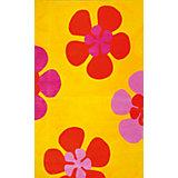 """Оранжевый ковер """"Цветы"""" 80 * 120 см"""