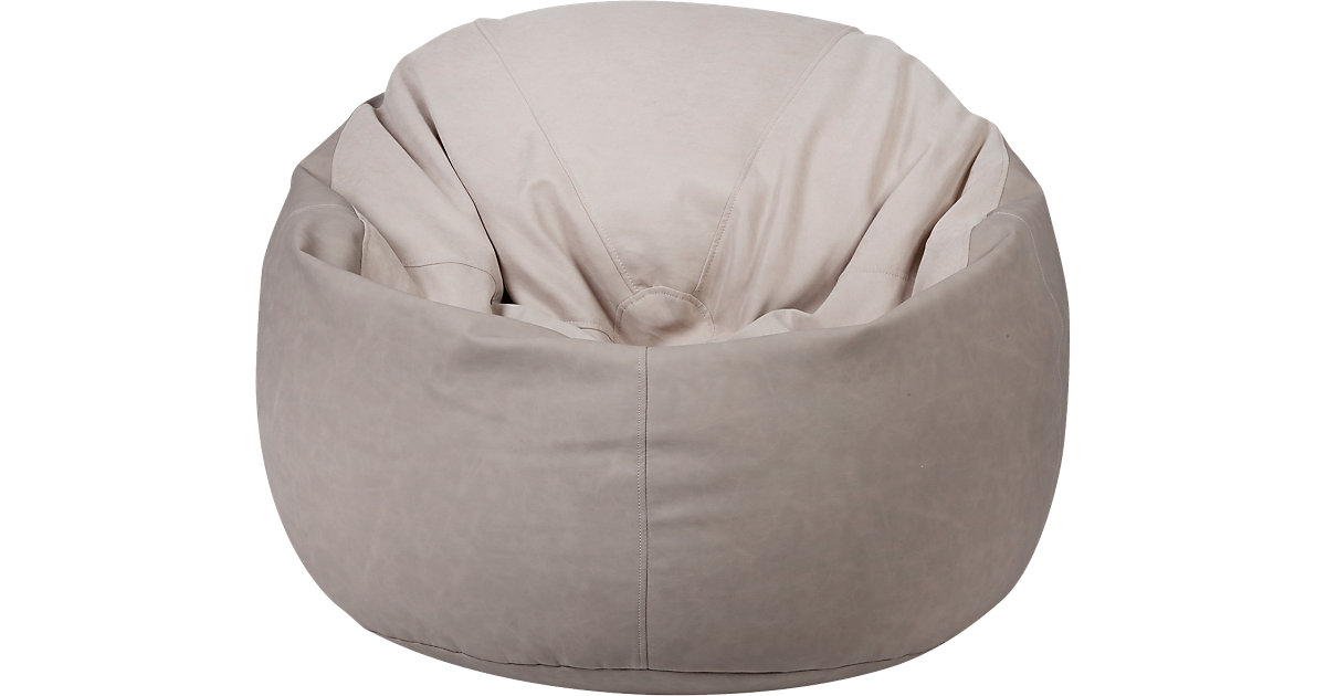 Sitzsack Toby, Kunstleder/Flachgewebe taupe grau